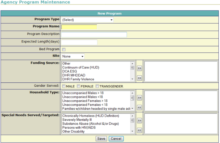 Screenshot of the HMIS software used in Atlanta, showing the kind of information the system logs for service providers.