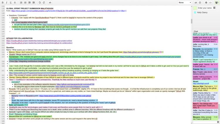 Screenshot of how we use Etherpad